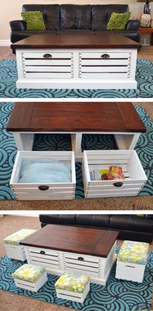 crate coffee table, storage ideas